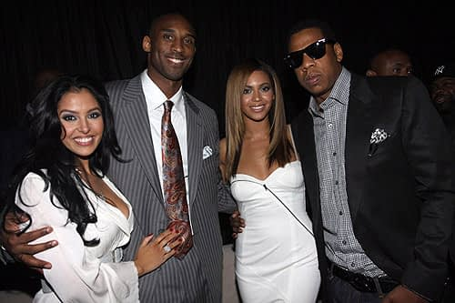 "PHOENIX - FEBRUARY 14: (L-R) Vanessa Bryant, Kobe Bryant, Beyonce and Jay-Z attend Sprite's 3rd Annual Jay-Z And Lebron James ""Two Kings"" Dinner & After Party (Photo by Johnny Nunez/WireImage)"